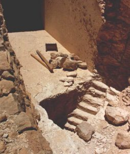 The entrance stairs of KV 60 as rediscovered by the PLU expedition in 1989.