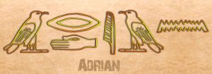 Ancient Egyptian Name Translator - Adrian in hieroglyphs